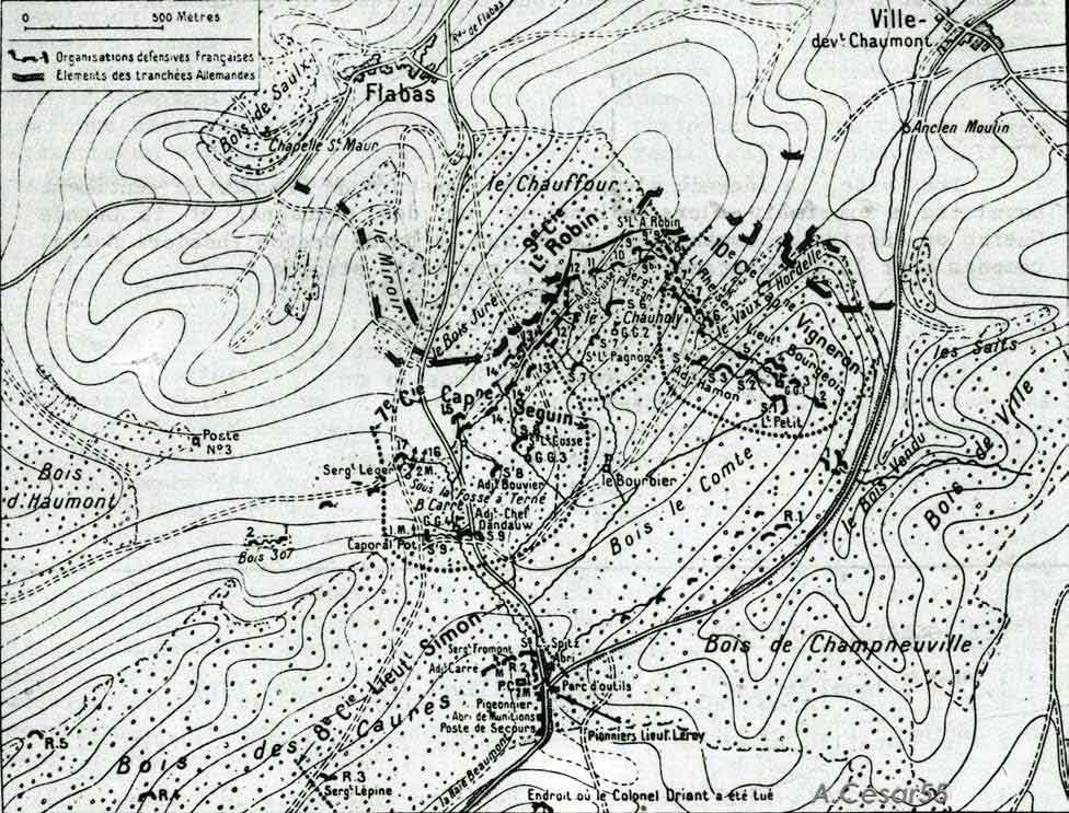 Plan détaillé des positions du 59e BCP de Driant au Bois des Caures.